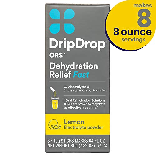 - DripDrop ORS Electrolyte Hydration Powder Sticks, Lemon Flavor, Makes (8) 8oz Servings