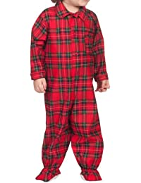Baby Boys Holiday Red and Green Plaid Footed Jumpsuit Pajama