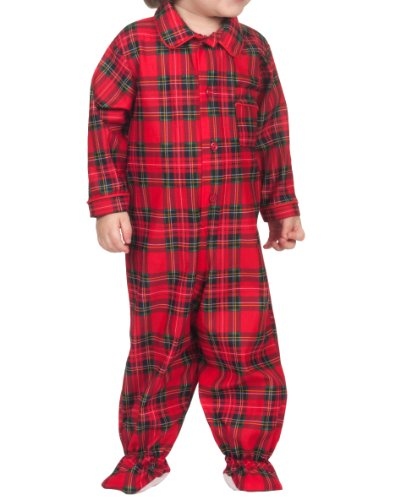 Tom & Jerry Baby Boys Red Green Plaid Button-Up Footed Jumpsuit Pajama, 09m