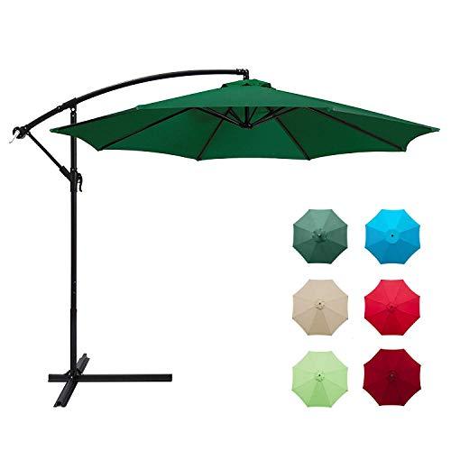 Aoxun 10ft Patio Offset Cantilever Umbrella - Market Umbrellas Outdoor Umbrella with Crank & Cross Base for Garden, Deck,Backyard and Pool (Green)