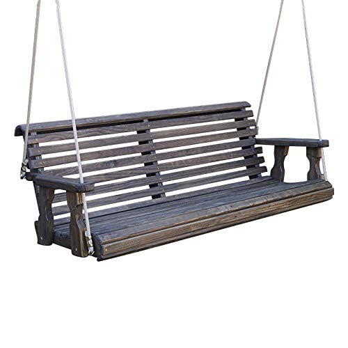 CAF Amish Heavy Duty 800 Lb Roll Back Treated Porch Swing with Hanging Ropes (5 Foot, Dark Walnut Stain)