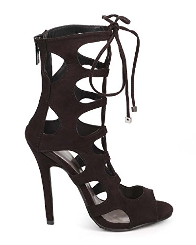 Breckelles Breckelles Dd66 Sandalo Stiletto In Pelle Scamosciata Con Peep Toe - Nero