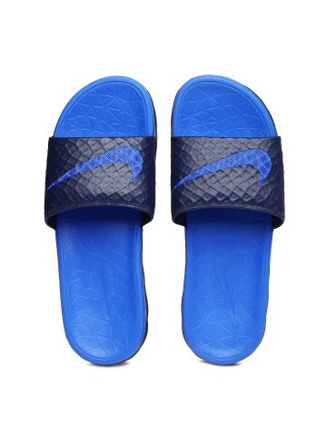 best sneakers c306d 98b3f Nike Men Blue Benassi Solarsoft Slide 2 Flip-Flops