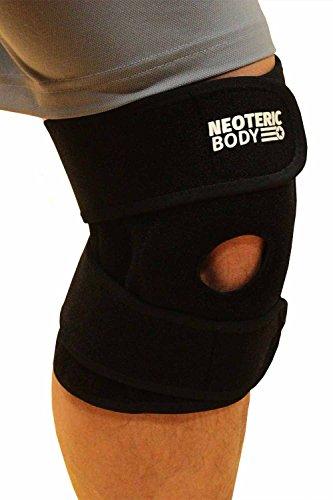 Knee Brace by NeotericBody - Knee Support Brace For Meniscus, ACL, Arthritis, Running, Basketball, Sports, Ligament Pain Relief - Open Patella Stabilizing Knee Wrap - Neoprene Brace For Men & Women