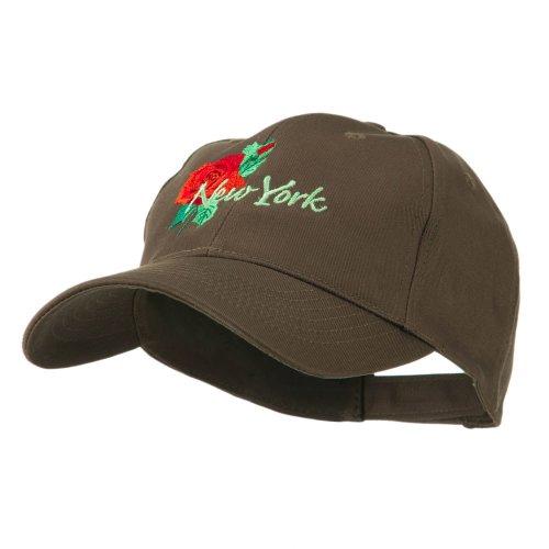 Dakota Womens Cap (USA State Flower New York Rose Embroidery Cap - Brown OSFM)