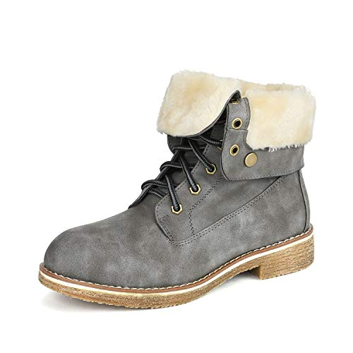 Cold Weather Fashion Boots - DREAM PAIRS Women's Montreal Grey Faux Fur Ankle Bootie Size 7 B(M) US