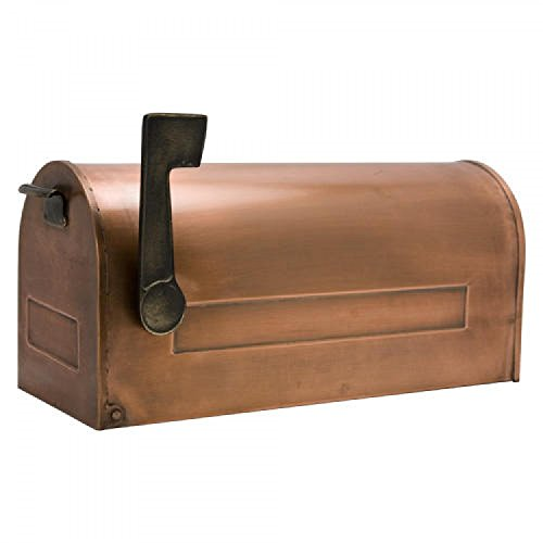 Naiture Standard Traditional Copper Post Mount Mailbox with Brass Flag - Mount Copper Mailbox