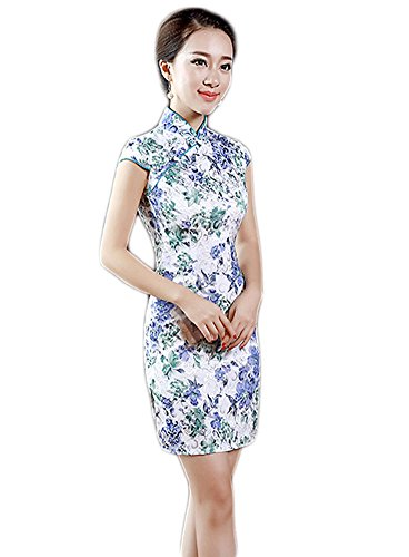 EXCELLANYARD Women's Cotton Chinese Qipao Cheongsam Dress 8 - Traditional Chinese Dress