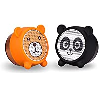 Mini Bluetooth Speakers Two Pieces Ture Wireless Stereo Cute Animal Portable TWS Audio with Surround Sound and Richer Bass, Remote Selfie Function, Bluetooth 4.2, Handsfree Calling-Panda&Bear