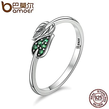 JEWH 100% 925 Sterling Silver Ring - Dancing Green Dazzling Leaves Leaf CZ Finger Rings