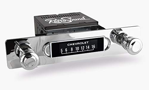 Apache Radio with Installation Bezel, Chrome Knob Kit and Vintage Dial Screen Compatible with 1955-59 GMC or Chevrolet Truck