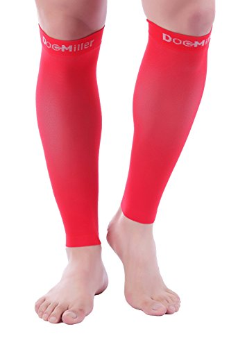 Doc Miller Premium Calf Compression Sleeve 1 Pair 20-30mmHg Strong Calf Support Colors Graduated Pressure for Sports Running Muscle Recovery Shin Splints Varicose Veins Plus Size (Red, Medium) ()