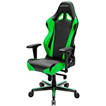 DXRacer Racing Series OH/RV001/NE Racing Seat Office Chair Gaming Ergonomic adjustable Computer Chair with - Included Head and Lumbar Support Pillows (Black, Green)