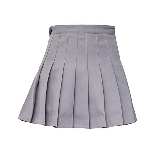 Polyester Gris Goodtimes28 de Mini Argent Patineuse Cadeau Femme XS Taille Mode Court Haute Unie Tennis pliss Couleur Rose Jupe ABA8Tw6q