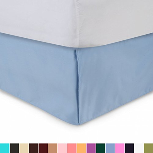 Blue Twin Bedskirt (Harmony Lane Tailored Bed Skirt - 14 inch Drop, Blue, Twin Bedskirt with Split Corners (Available in All Sizes and 16 Colors))