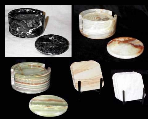 Extra Large White Onyx Coasters, Stone Drink Coasters with Holder - Set of 6