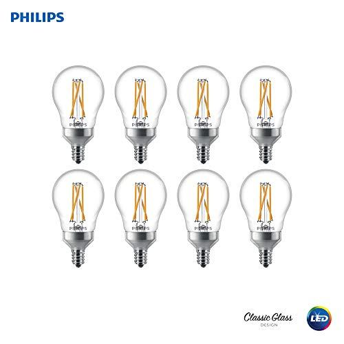 Philips 536573 LED Dimmable A15 Clear Filament Glass Light Bulb with Warm Glow Effect: 350-Lumens, 2700-2200 Kelvin, 4.5 (40-Watt Equivalent), Soft White, E12 Candelabra Base, 8 Pack, Piece ()