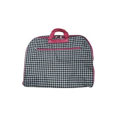 World Traveler 40-inch Houndstooth Garment Bag, Black and White with Pink durable service