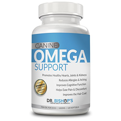 Dr. Bishop's Canine Omega 3 for Dogs 120 Count Natural Wild Caught High Potency Pure Iceland Fish Oil Supplement More EPA DHA vs Salmon Help Dry Coat Allergies Skin Joint Heart Brain Immune Kidney (Salmon Oil Vs Fish Oil For Dogs)
