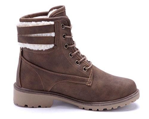 Schuhtempel24 Damen Schuhe Boots Stiefel Stiefeletten Blockabsatz Schnalle 4 cm Khaki