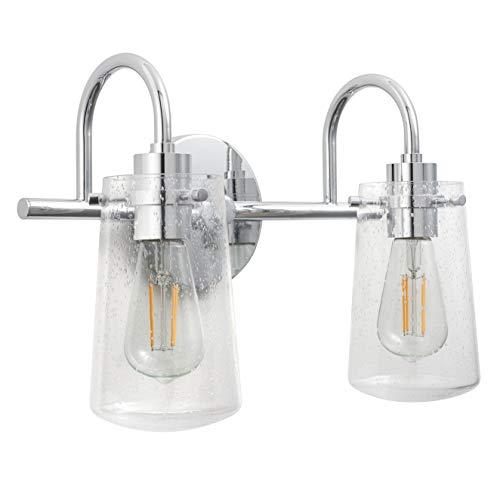- Lentia 2 Light Hallway Wall Sconce | Chrome Bathroom Vanity Light with LED Bulb LL-WL662-2PC
