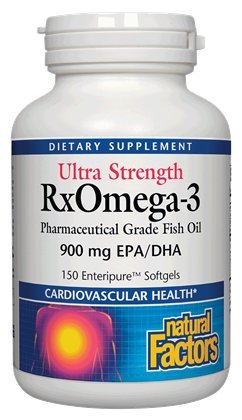 Natural Factors - Ultra Strength RxOmega-3, Pharmaceutical Grade Fish Oil, 150 Enteric Coated Soft Gels