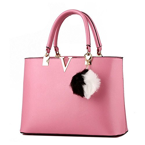 Desklets Women's Hairball Stachel Sling Tote Bags Top Handle Handbag(Pink)