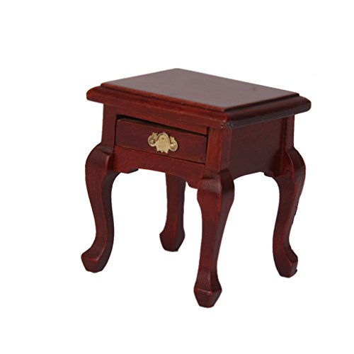 DYNWAVE Miniature Bedroom Furniture, 1/12 Scale Minatures Wooden Nighstand Bedside Table for Doll House Accessories and Furniture ()