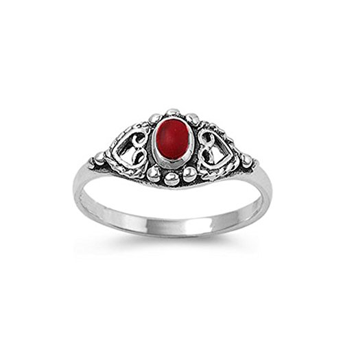 Noureda Sterling Silver Antique Style Heart Design with Centered Oval Cut Red Stone Ring, Face Height of 8MM, Band Width: 2MM (Stamp Antique Style Sterling Silver)