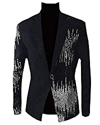 Men's Sequins Sparkly One Button Blazer S-Black