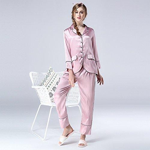 Moda in Europa e negli Stati Uniti pigiama di seta primavera e autunno seta manica lunga di grandi dimensioni abiti da sera di lusso di seta del ghiaccio di casa ( Size : XL )