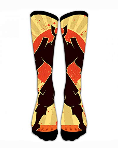 SARA NELL Men Women Classic Crew Socks Japanese Samurai Warrior Personalized Athletic Socks 44Cm Long