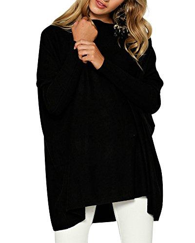 Women's Long Sleeve Pullover Sweatshirt - Casual Crewneck Batwing Tops X-Large Black (Jumper Black Long)