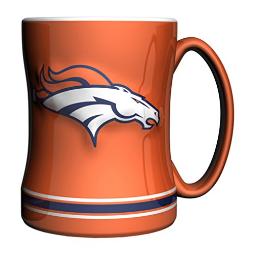 NFL Denver Broncos Sculpted Relief Mug Alternate Color, 14-Ounce, Orange