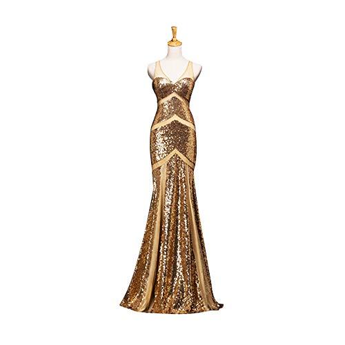 - TS Women's Mermaid Trumpet V Neck Floor Length Sequined Sparkle Shine Formal Evening Dress, Gold-14
