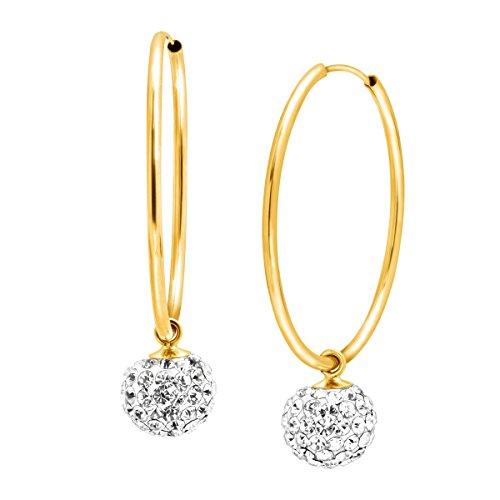 Clasp Gold 14k Hidden (Crystal Ball Drop Hoop Earrings in 14K Gold)