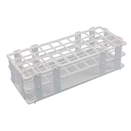 BIPEE Plastic Test Tube Rack for 20mm, 40 Wells, White,Detachable (40 Hole) (Test Tube Rack Metal)