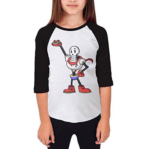 101dog Undertale Papyrus Unisex Youth Casual 3/4 Raglan T-Shirt (Roddy Piper Costume)