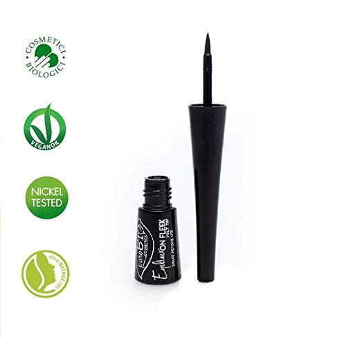 PuroBIO Certified Organic Long-Lasting Liquid Eyeliner with Argan Oil, Sage Extract and Vitamins. ORGANIC. VEGAN. NICKEL TESTED. MADE IN ITALY