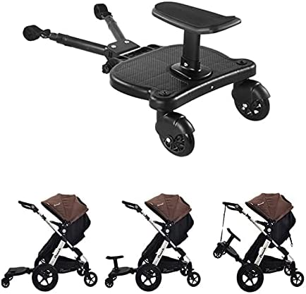 HAO KEAI Universal 2 in 1 Second Child Trolley Assist Pedal with Chair Pedestal Stroller Ride Board with Detachable Seat Holds Children Up to 55 Lbs