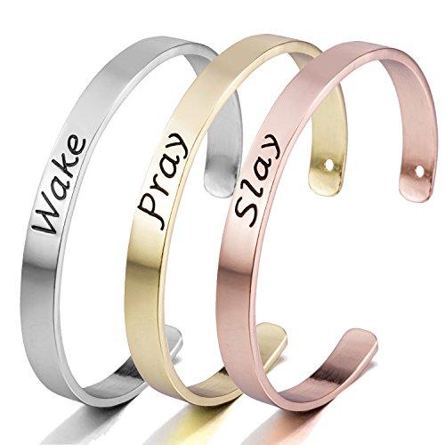 Wake Pray Slay Set of 3 Bangle Bracelets - Silver, Gold and Rose Gold Toned Bracelet - Toned Bracelet Set