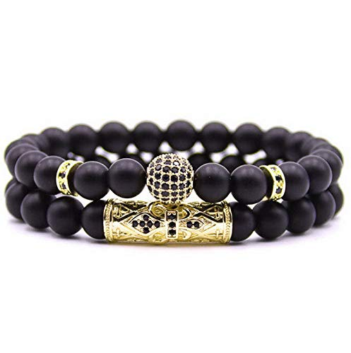 (Mikash Fashion Men Zircon CZ Ball Fleur De Lis Tube Beaded Bracelet Matte Onyx Stone | Model BRCLT - 10603 |)
