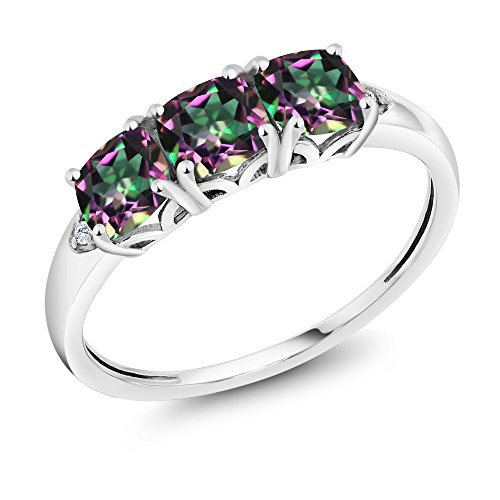 10K White Gold 2.14 Ct Cushion Green Mystic Topaz and Diamond 3-Stone Ring (Available in size 5, 6, 7, 8, 9) by Gem Stone King