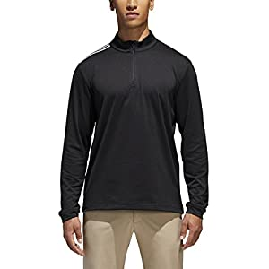 adidas Golf Men's Adi 3-Stripes Classic 1/4 Zip Jacket, Black, X-Large