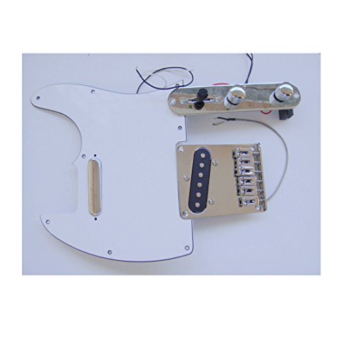 Fastmusic Prewired White 3Ply Tele Guitar Pickguard Control Bridge Kit by Generic (Image #2)