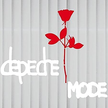 Greenit Set Groß Exciter Schriftzug Und Rose Aufkleber Tattoo Die Cut Car Decal Auto Heck Deko Folie Depeche Mode Weiss Rot Gross Invers Auto