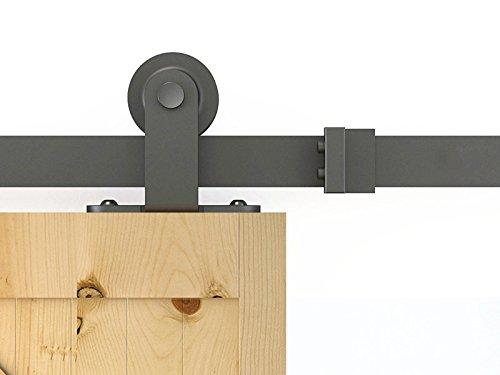 DIYHD 6FT Top Mounted Black Rustic Barn Wood Interior Closet Sliding Door Track Hardware, 1.83m Single kit