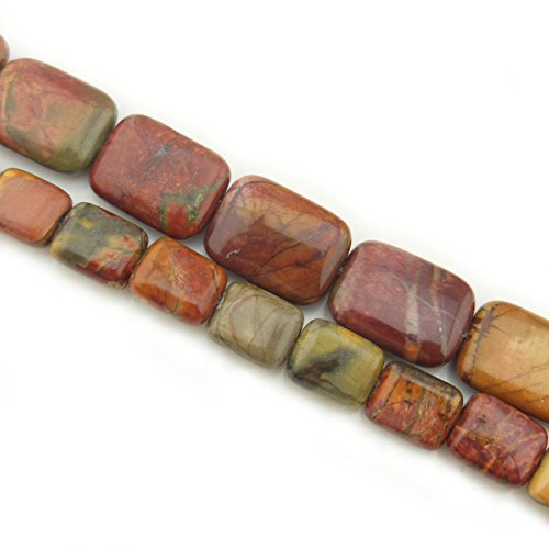 (COIRIS 15'' Strand 10x8mm Natural Picasso Jasper Gemstone Rectangle Loose Beads for Jewelry Making (ZS1099-10) )