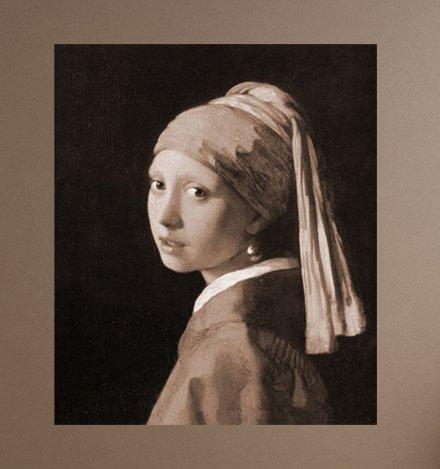 Bilderdepot24 self-adhesive photo wallpaper Old Master The Girl with the Pearl Earring by Jan Vermeer, Vinyl, Vinyl, sepia, 130 x 155 cm: Amazon.co.uk: ...