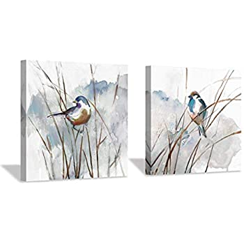 Abstract Picture Bird Wall Art: Animal Birds on Reed Watercolor Artwork Painting on Canvas for Bedroom (12